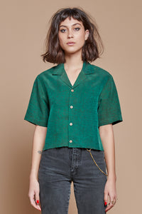 Green Turtle Cropped Camp Collar Shirt