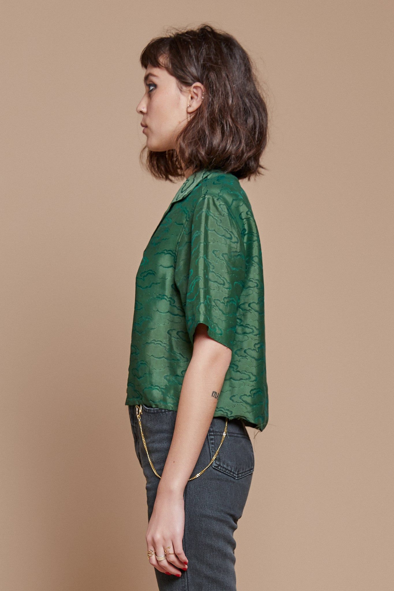 Green Clouds Cropped Camp Collar Shirt