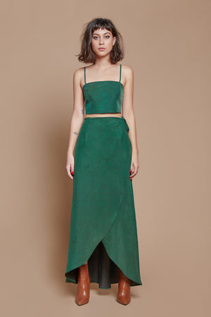 Green Turtle Long Wrap Skirt