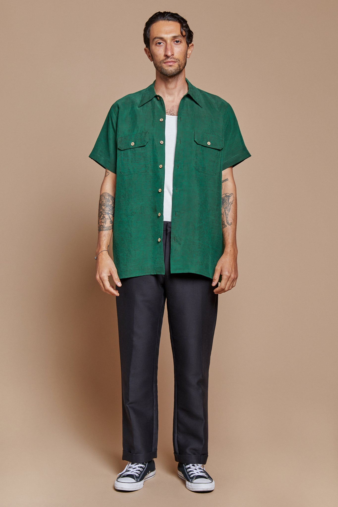 Green Turtle Button Up Shirt