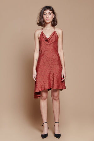 Red Clouds Bias Cut Dress