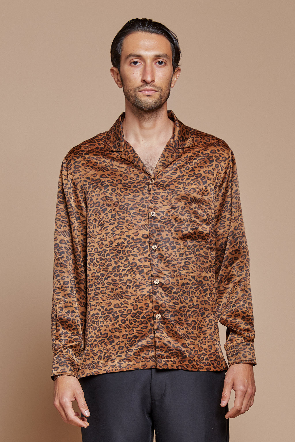 Leopard Long Sleeve Camp Collar