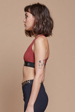 Red Organic Hemp/Cotton Sports Bra