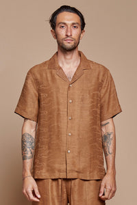 Tan Clouds Camp Collar Shirt