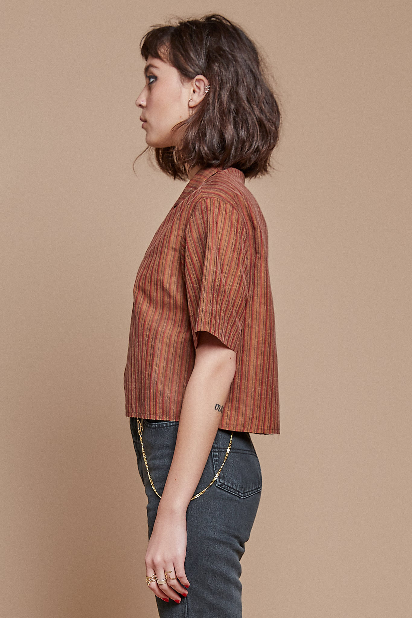 Candy Stripe Cropped Camp Collar Shirt