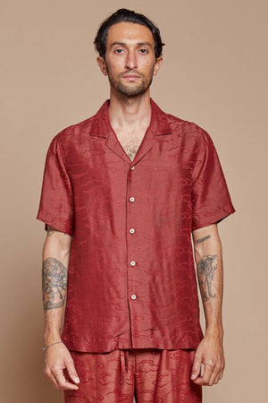 Red Clouds Camp Collar Shirt