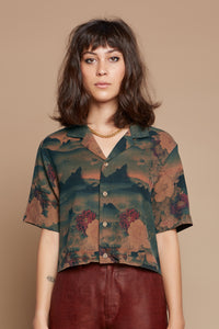 Mountain Cropped Camp Collar Shirt