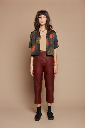 Black Dahlia Cropped Camp Collar Shirt