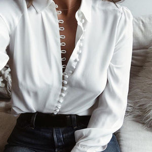 Solid Long Sleeve Blouse - Lapel Shirt with Turn-down Collar