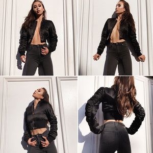 Satin crop short  bomber jacket