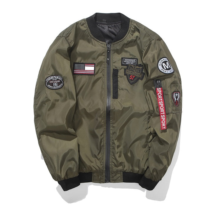 Flight Jacket Bomber with Patches