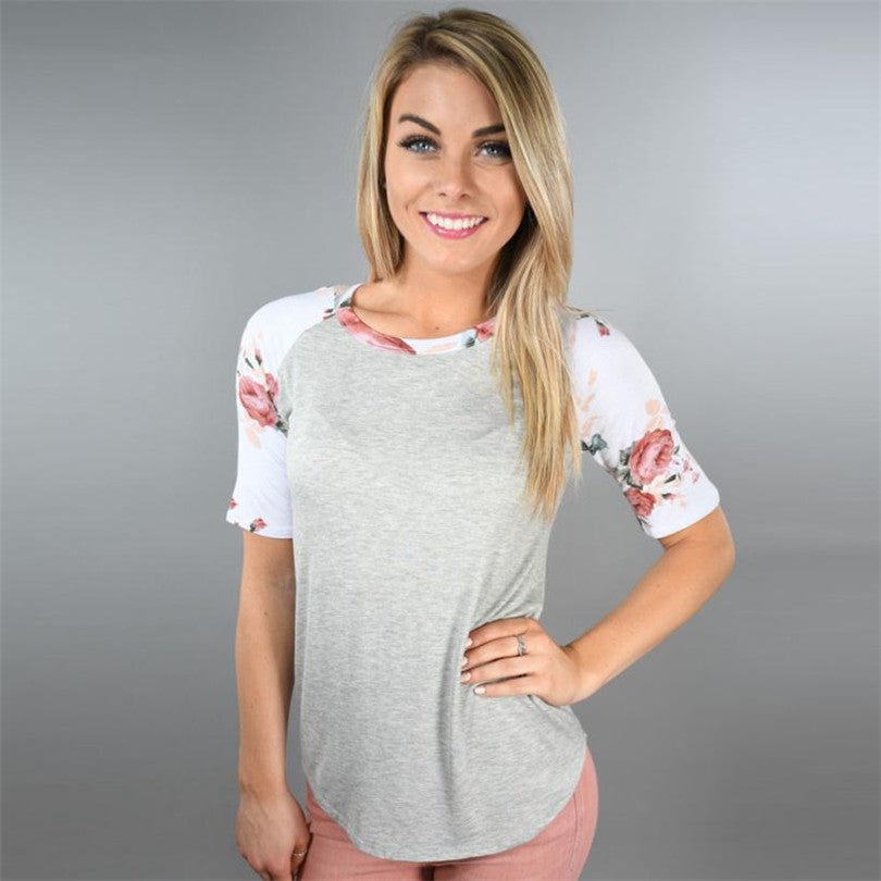 Flower Printed Round neck Casual Tee