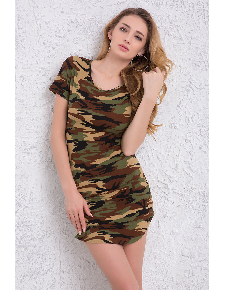 Summer Sexy Mini Dresses Green Camouflage