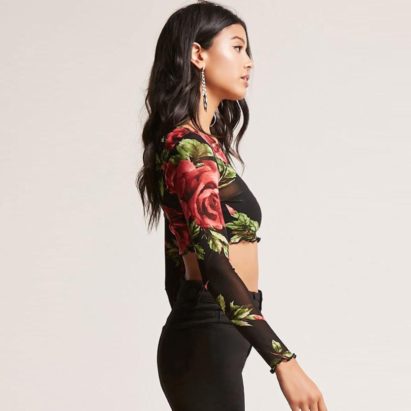 Sexy Floral Grid Perspective Shirt Long Sleeve