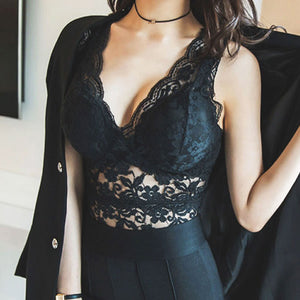 Sexy Tank Tops Lace Flower Pattern with Deep V Collar Vest Hollow Lace Tops
