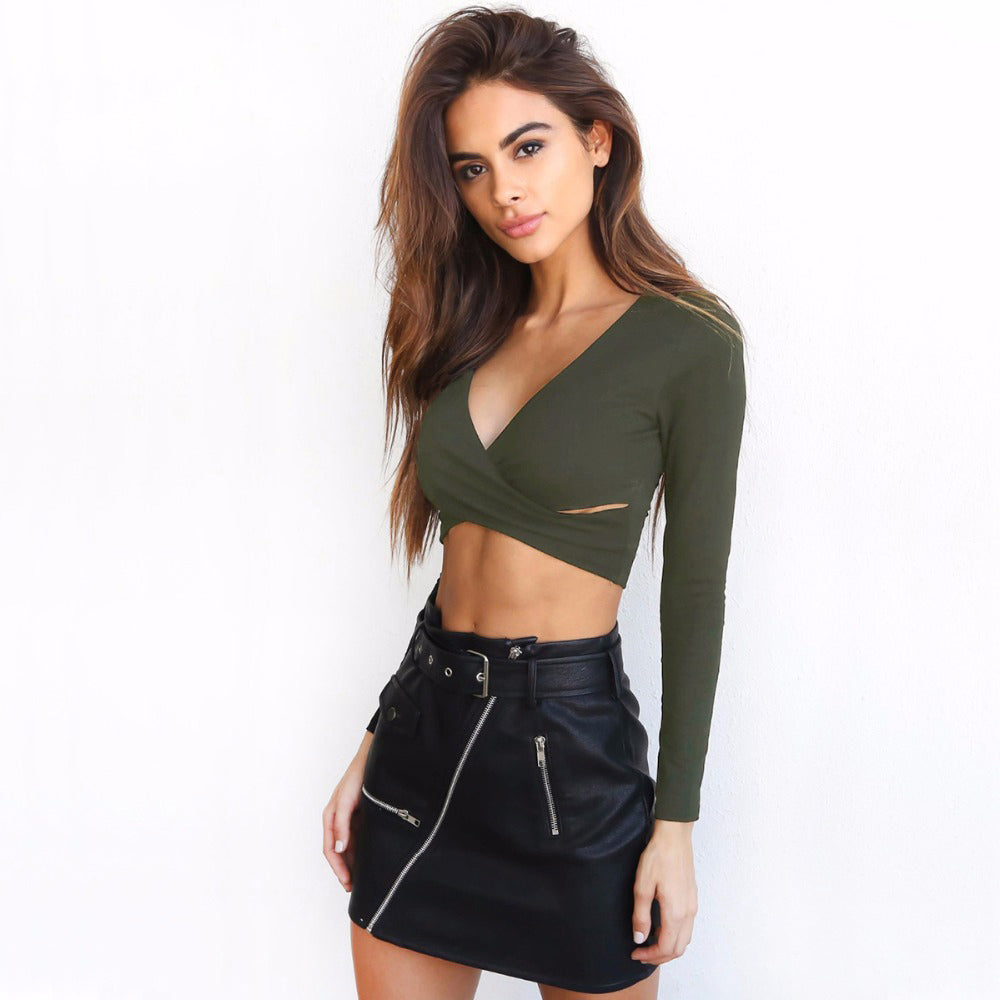 Trend Cross V-neck Sexy Crop Top Tees
