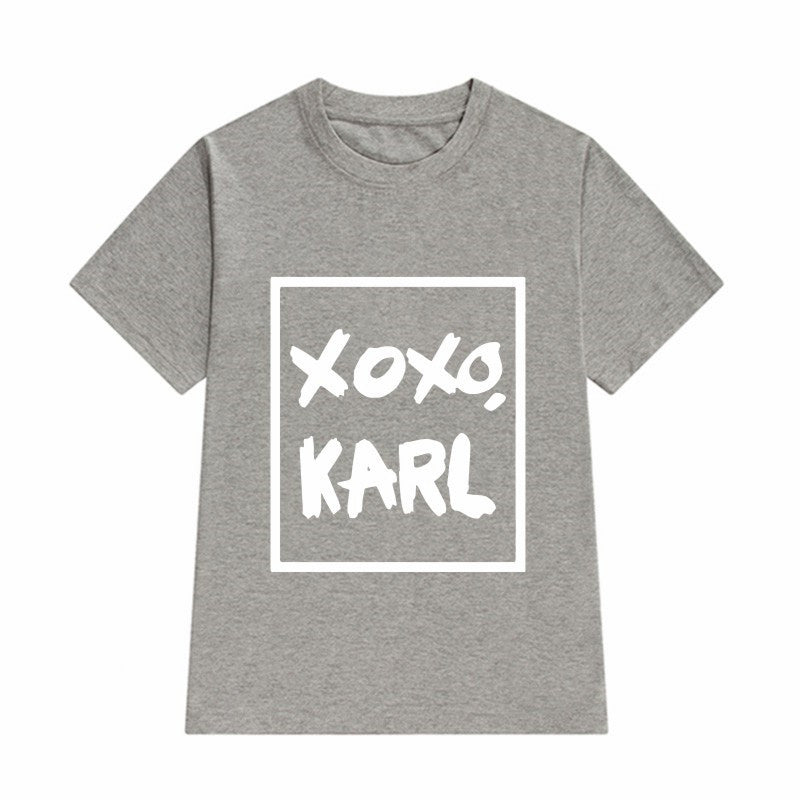 Casual  T-Shirts  XOXO KARL Printed Punk Rock T Shirt