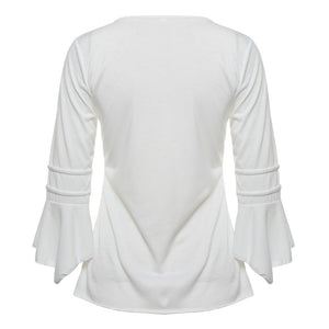 Blouse Shirts Elegant Ruffles with Flare Sleeve