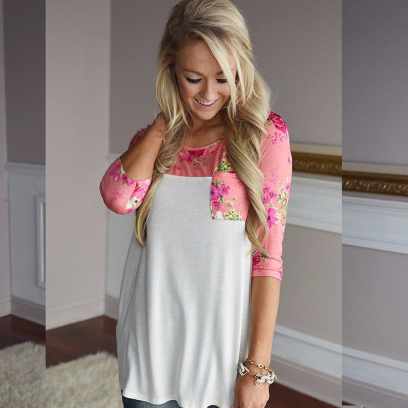 Casual lace loose tee shirt with floral printed