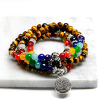 Tree Life 7 Chakra A Tiger Eye Beaded Bracelet Unisex