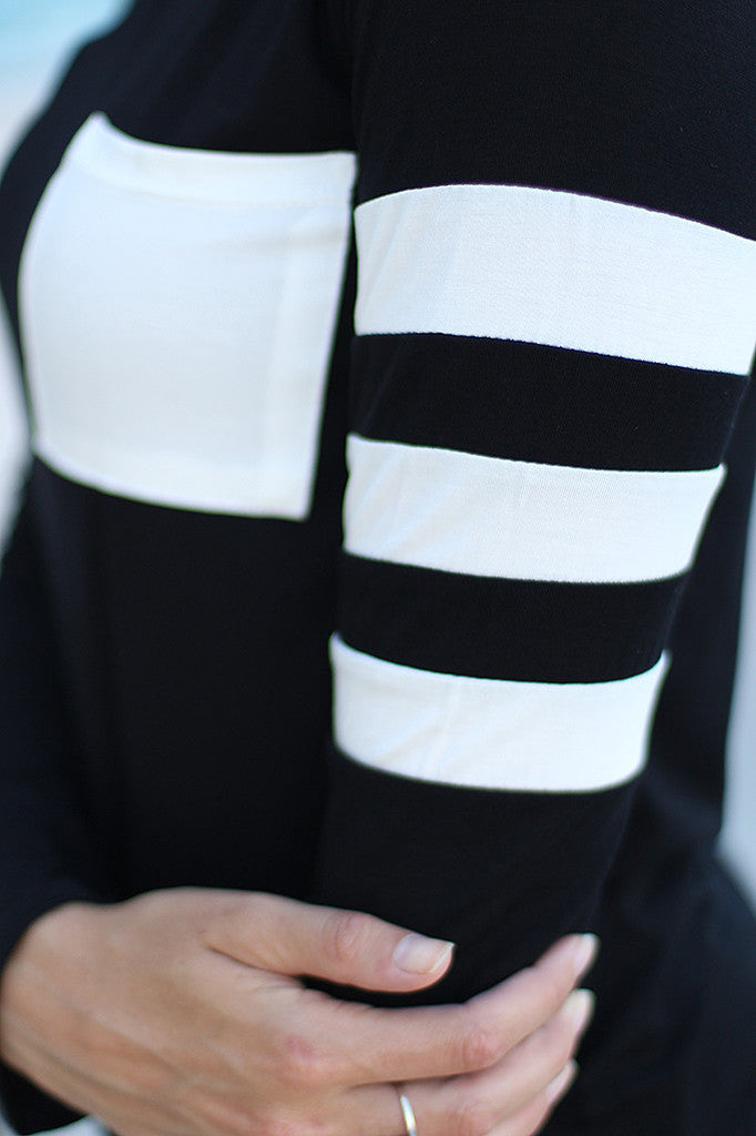 Striped Top Long Sleeve Pocket Patchwork Blouse Shirts
