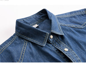 Slim Fit Denim Shirts Gradient color Casual clothing long Sleeve
