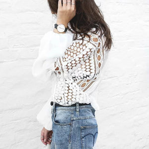 Crochet Lace Patch Hollow Out Chiffon  Blouse with Tied Neck