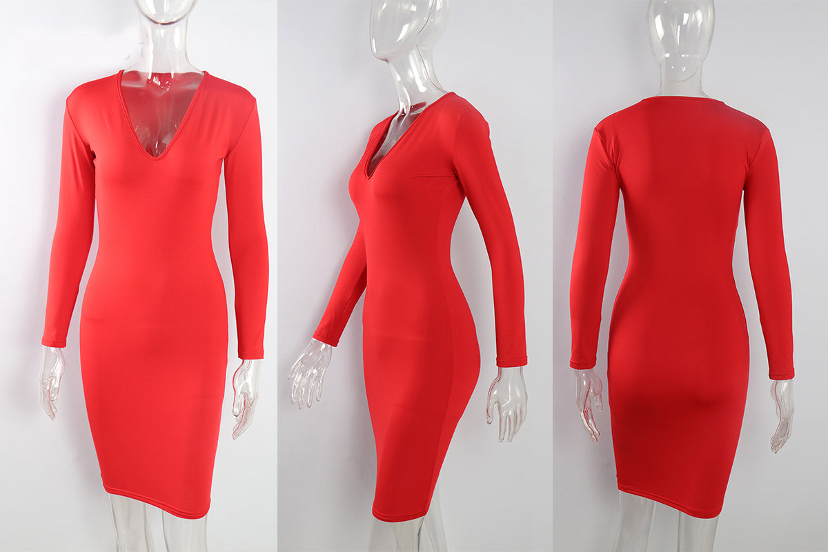 Deep V-neck long sleeve dress