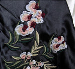 Color Block Bomber Jacket Floral Embroidery Loose fit