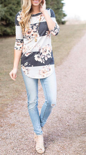Fashion Casual Long Sleeve Printed Floral Flower