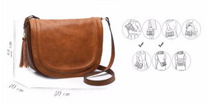 Casual Handbag with solid saddle tassel