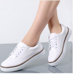 Casual White Shoes Flats Lace Up Footwear