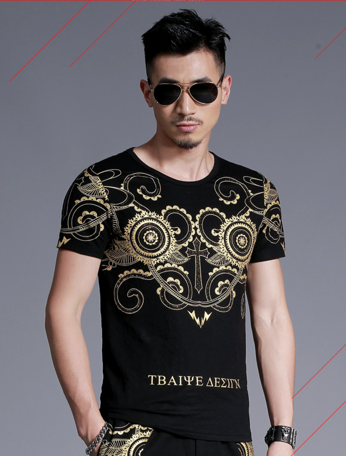 Retro Bronzing Diamond Print T-Shirt