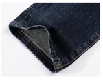Jeans Ripped Distressed Straight Slim Fit Painted Stretch Patches
