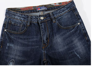Ripped Jeans Thicken Heavyweight Stretch Blue Denim