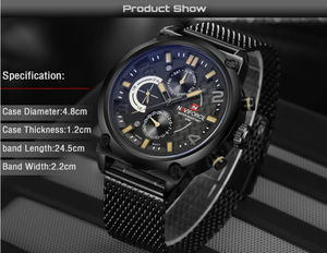 Luxury Analog Quartz Sport Full Steel Wrist Watch
