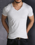 Slim Fit V-Neck Short Sleeve Cotton T-Shirt