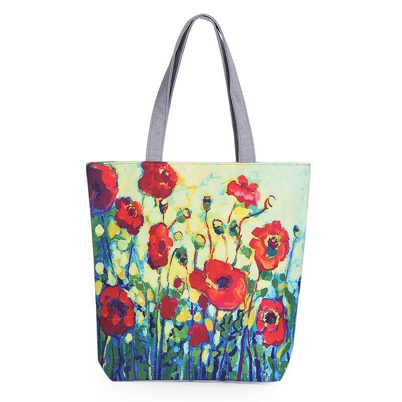 Floral Printed Canvas Tote