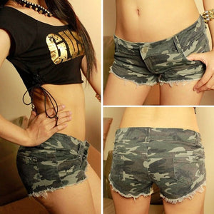 Mini Camouflage Short Denim  Low Waist sexy  pants