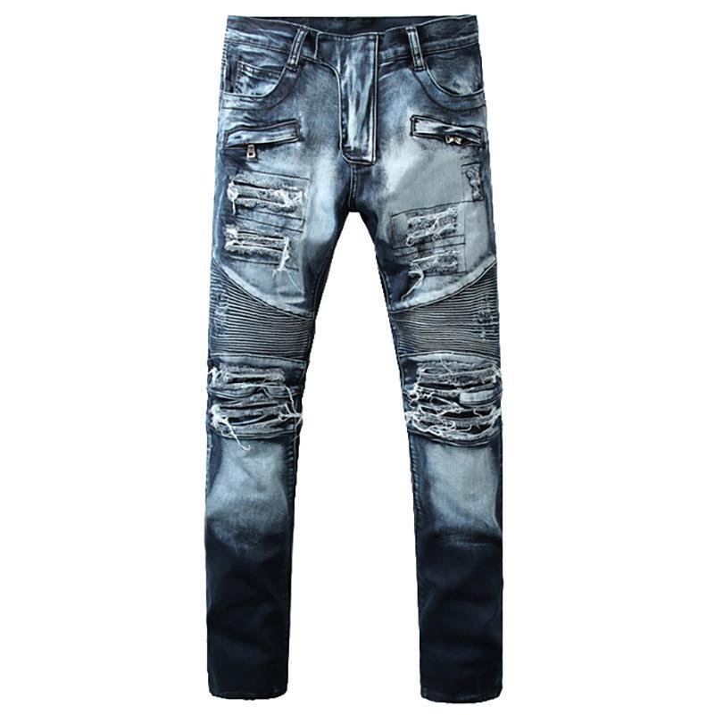 Holes ripped biker jeans  Casual slim fit