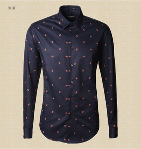 Summer casual cotton printed flower shirt men new fashion high quality slim fit shirt