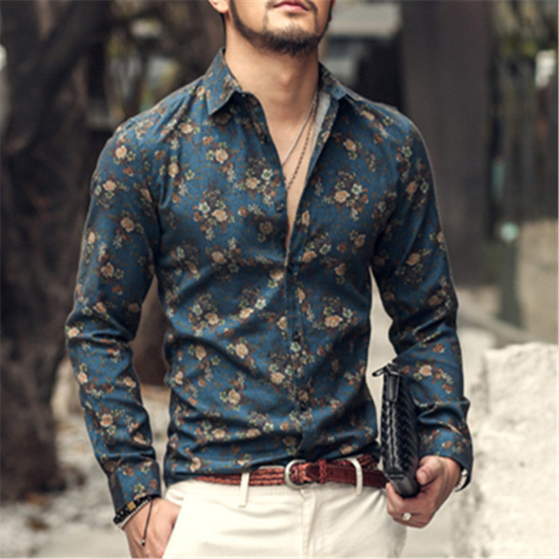 Fashion flower printed long sleeve shirts