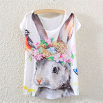 O-neck Causal loose Rabbit nest T- shirt Summer top