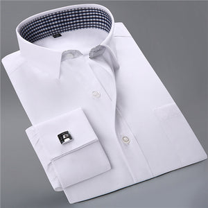 French Cufflinks Solid Dress Shirts with Pocket