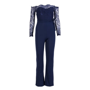 Jumpsuits High Quality Lace Patchwork with Embroidery
