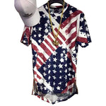 Unisex USA Flag Urban destroyed Ripped Oversized Tees