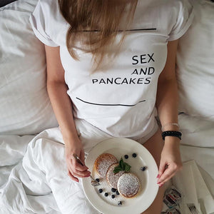 SEX AND PANCAKES Print White Tees
