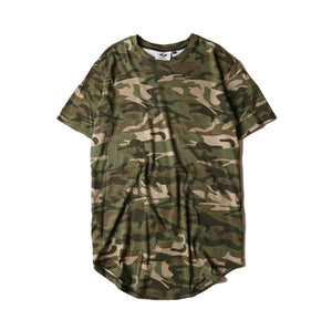 Camouflage Striped Curved Hem cotton T-shirt