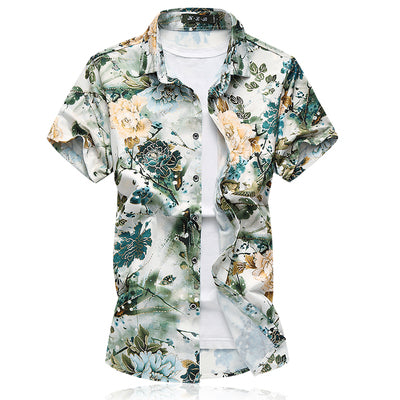 Silk Hawaiian Shirt Summer Casual Floral Shirts