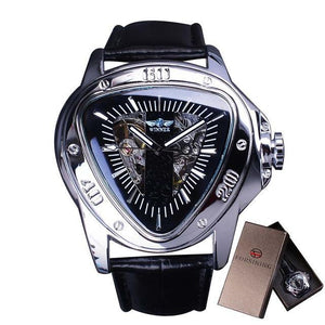 Racing Design Triangle Design Silver Skeleton Watch